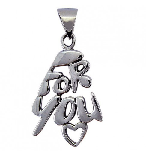 "Pendentif argent ""for you"""