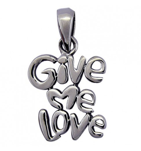 "Pendentif argent ""give me love"""
