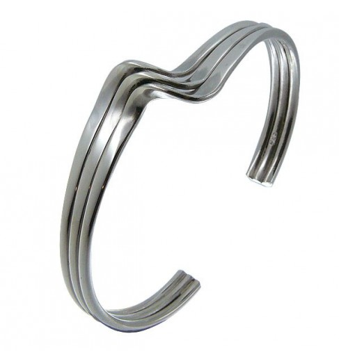 Bracelet argent triple vague