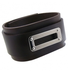 Bracelet cuir et acier rectangle MARRON